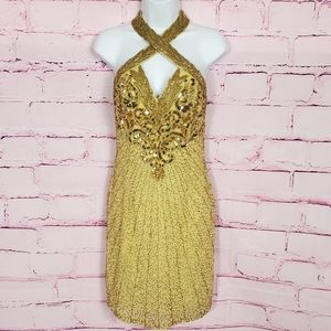 Vintage Gold Sequin And Beaded Cocktail Dress